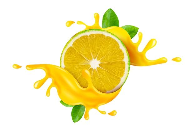 Limón dulce verde fresco cayendo en jugo de salpicaduras