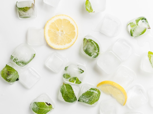 Limones y hojas en cubitos de hielo.