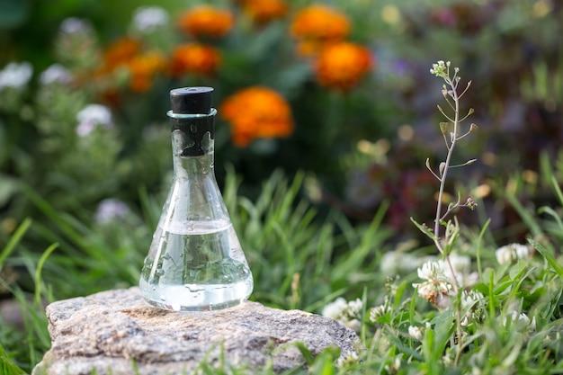 Limpie el agua en un matraz en el césped en flores. muestra de agua para experimento ambiental.