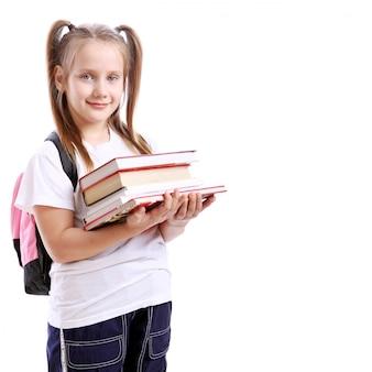 Linda chica con libros
