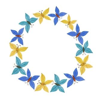 Linda corona de primavera en el arte popular mariposa de pascua
