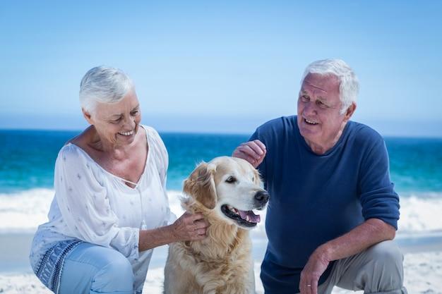 Linda pareja madura acariciando a su perro