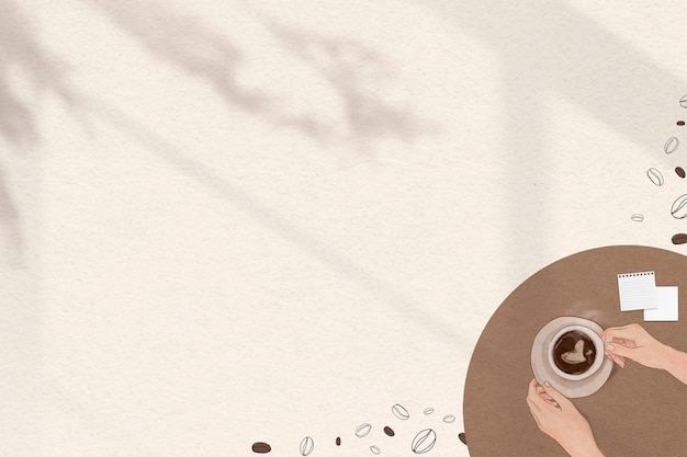 Lindo borde marrón con fondo de sombra de granos de café