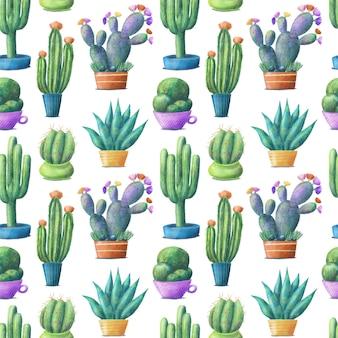 Lindo colorido cactus en macetas, de patrones sin fisuras sobre fondo blanco.