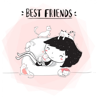 Lindo dibujo de línea feliz niña abrazo gatos en sofá