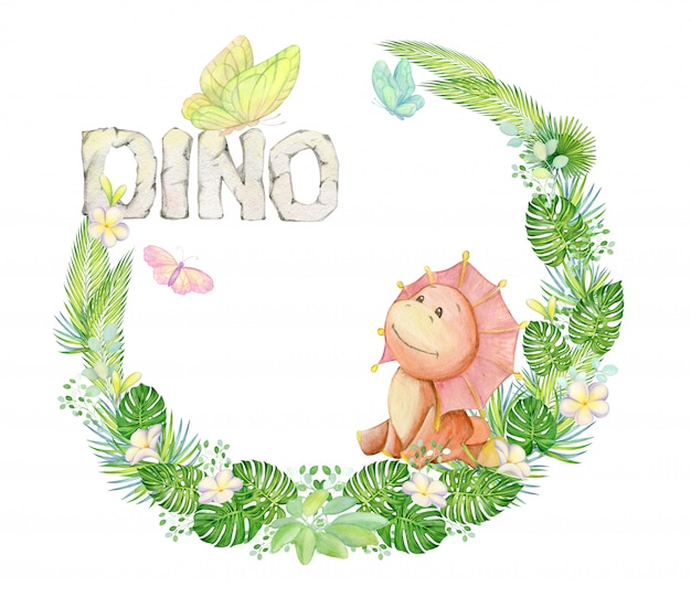 Lindo dinosaurio sentado. rodeado de plantas tropicales, flores, mariposas. guirnalda de acuarela.