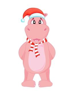 Lindo hipopótamo de navidad.