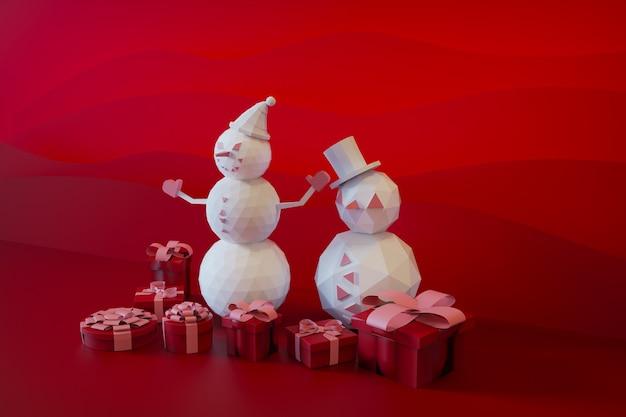 Lindo muñeco de nieve rosa de pie con caja de regalo sobre fondo de navidad representación 3d