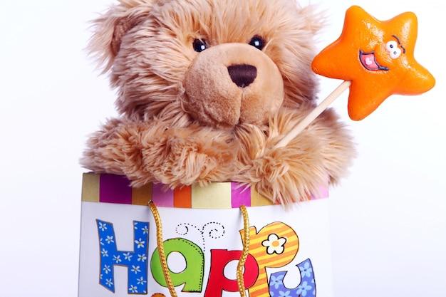 Lindo oso de peluche en la bolsa de regalo