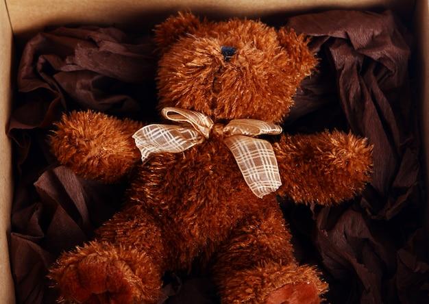 Lindo oso de peluche en la caja