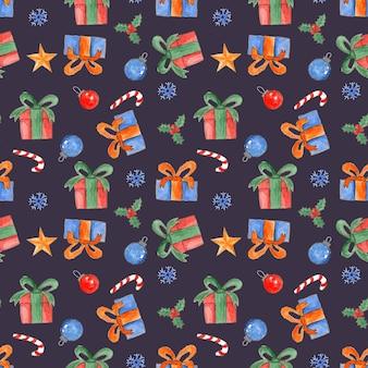 Lindo patrón transparente de navidad acuarela con cajas de regalo brillantes dulces acebo y bolas