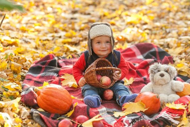 Lindo pequeño bebé sosteniendo una canasta con manzanas