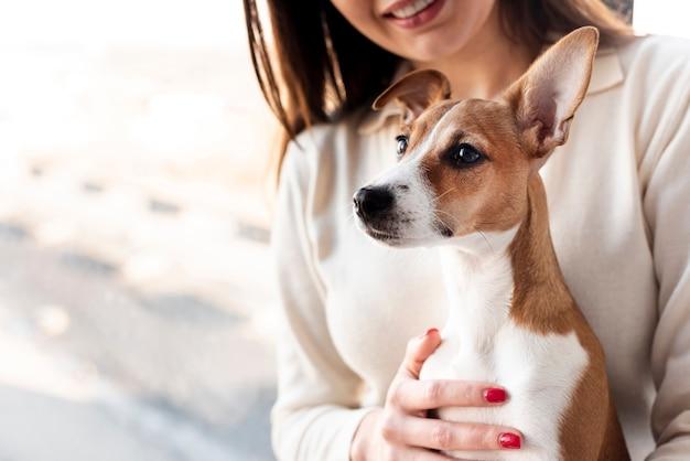 Lindo perro sostenido por una mujer sonriente
