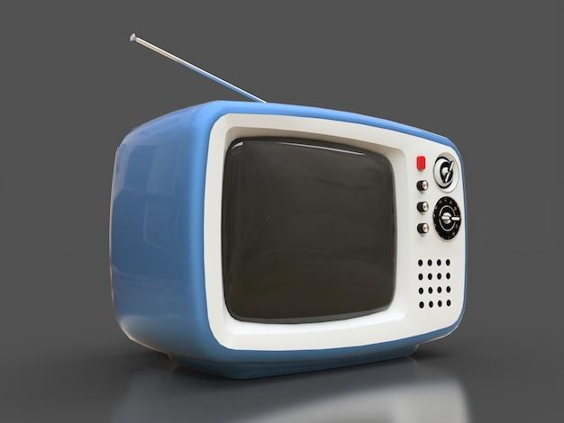 Lindo viejo televisor azul con antena sobre una superficie gris