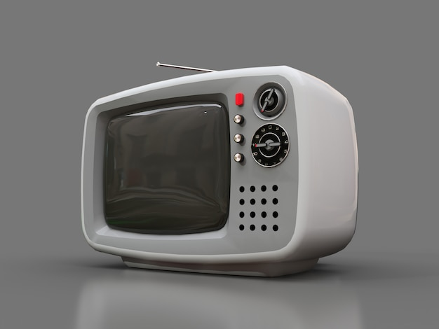 Lindo viejo televisor blanco con antena sobre un fondo gris