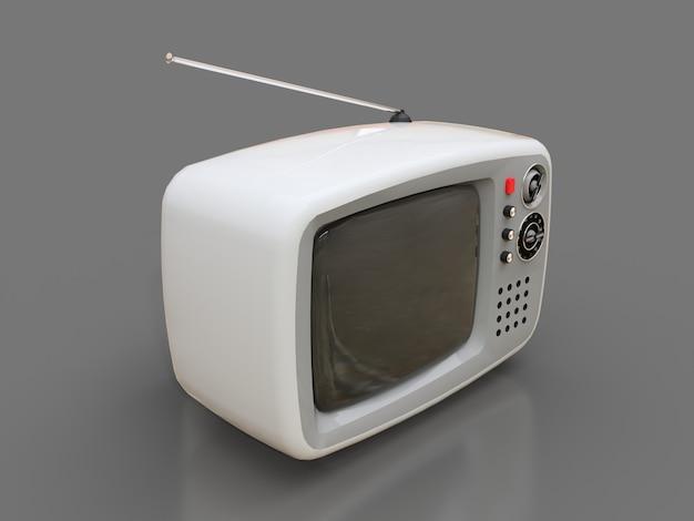 Lindo viejo televisor blanco con antena