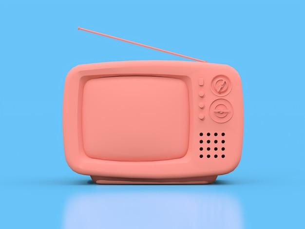 Lindo viejo televisor rosa con antena