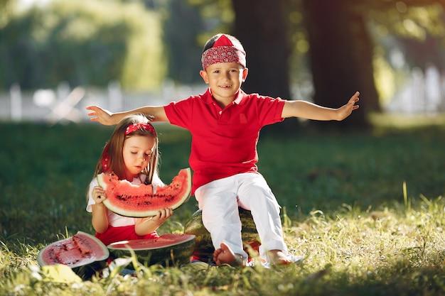 Lindos niños pequeños con sandías en un parque