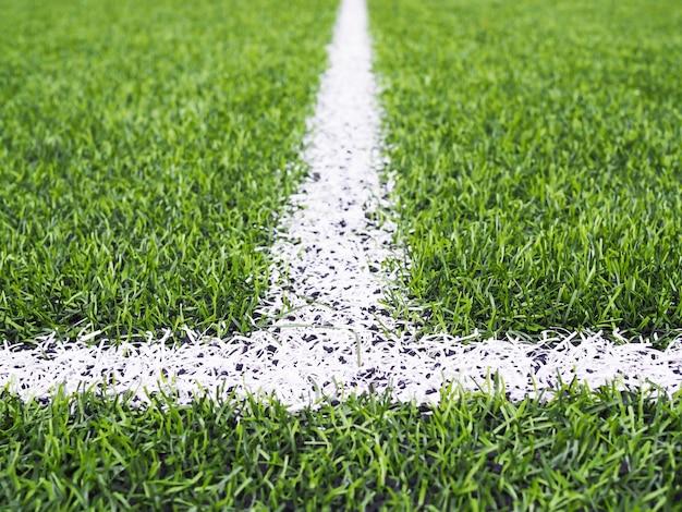 Línea blanca sobre la hierba verde en el campo de fútbol o campo de fútbol sala.