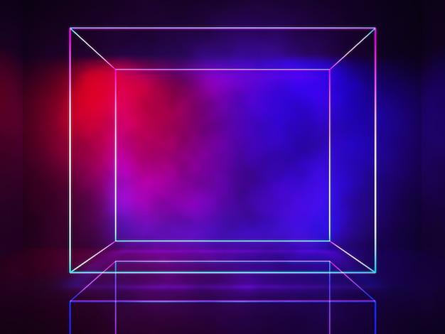 Línea de neón, luces rectangulares, concepto ultravioleta, fondo fústico abstracto, render 3d