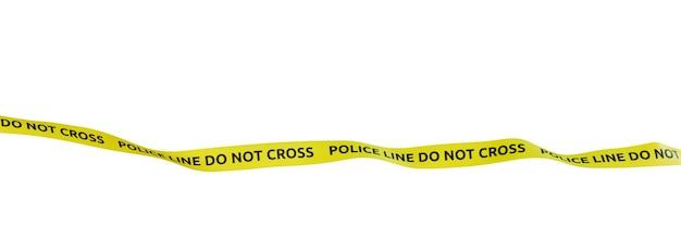 La línea de la policía no se cruza, fondos blancos, render 3d