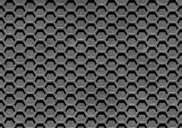 Líneas abstractas y malla metálica.