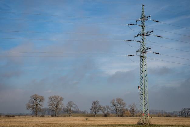 Las líneas de alta tensión a través de campos y prados suministran energía a ciudades y pueblos.