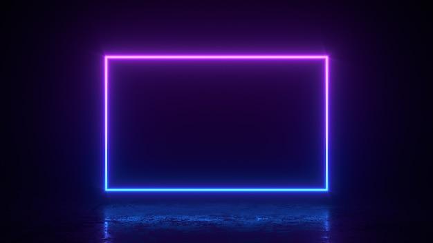 Líneas cuadradas rectangulares brillantes con espacio de copia, luces de neón, fondo vintage abstracto
