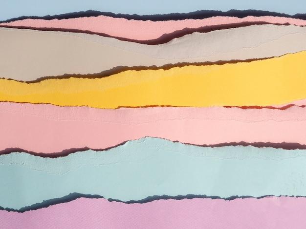 Líneas horizontales de papel abstracto rasgado