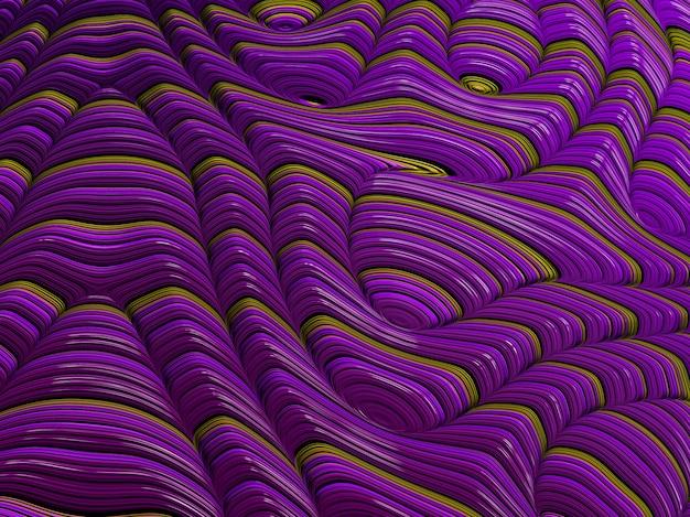 Las líneas y las ondas texturizadas púrpuras y amarillas abstractas del fractal, 3d rinden.