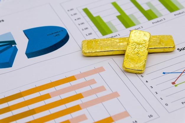 Lingotes de oro en el informe comercial