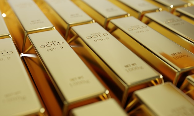 Lingotes de oro puro brillante en un fondo de fila