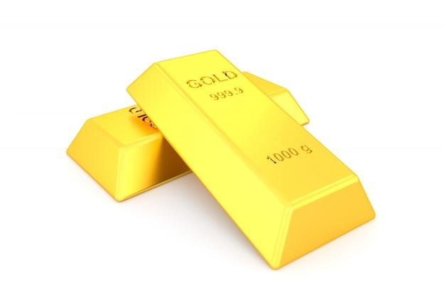 Lingotes de oro sobre fondo blanco.
