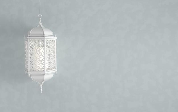 Linterna blanca de ramadán árabe con vela, ing