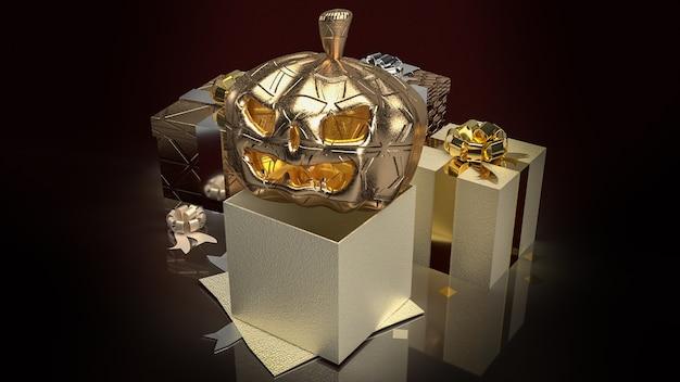 La linterna de calabaza dorada y la caja de regalo en tono oscuro para la representación 3d del concepto de halloween