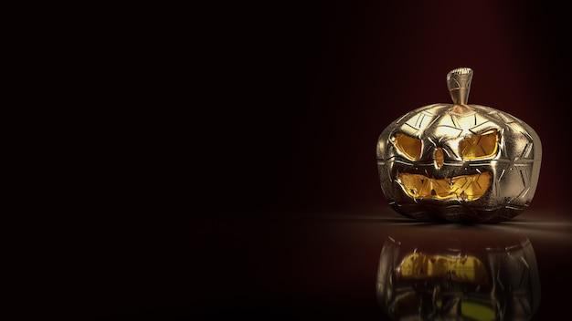 La linterna de calabaza dorada en tono oscuro para la representación 3d del concepto de halloween