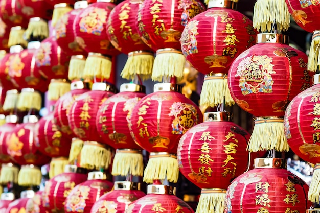 Linternas chinas de decoración tradicional.