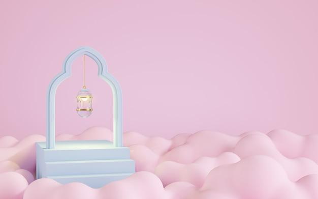 Linternas de vidrio con fondo de nube rosa, ilustración 3d