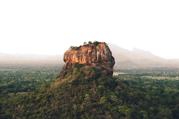 Lion rock en la mañana en sri lanka