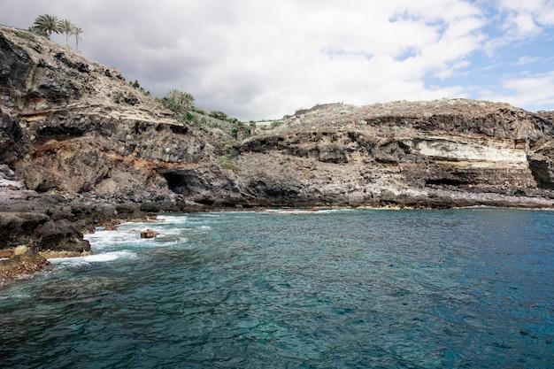 Litoral rocoso con agua azul