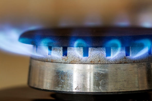 Las llamas azules de gas natural se queman en la placa de la estufa de la cocina, foto de primer plano con dof superficial