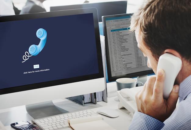 Llame a la comunicación telefónica concepto de conversación telefónica