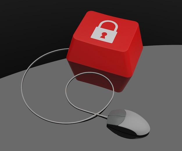 Llave de la computadora con el icono de candado. representación 3d