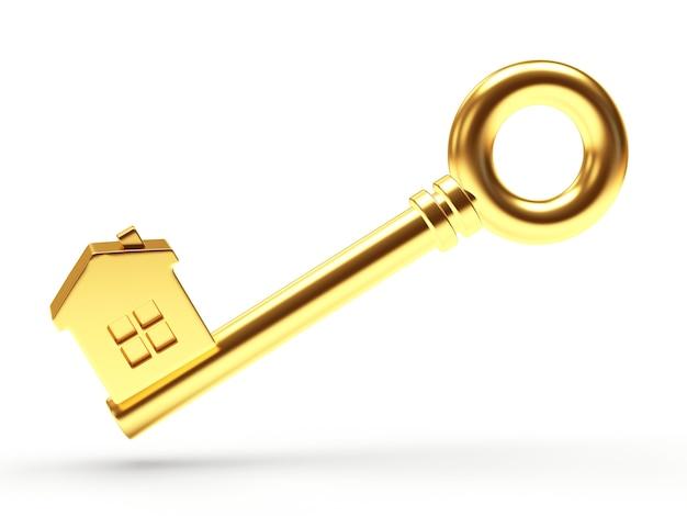 Llave dorada con figura de casa
