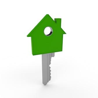Llave con forma de casa de color verde