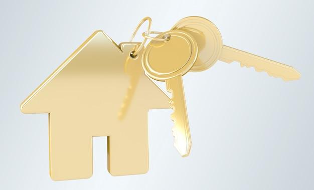Llave de oro con llavero de casa renderizado 3d