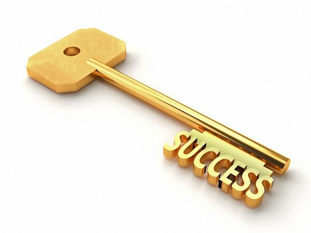 Llave de oro con la palabra éxito aislado en blanco. representación 3d