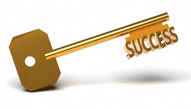 Llave de oro con la palabra éxito aislado en blanco.