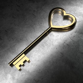 Llave de oro sobre fondo negro metálico. representación 3d