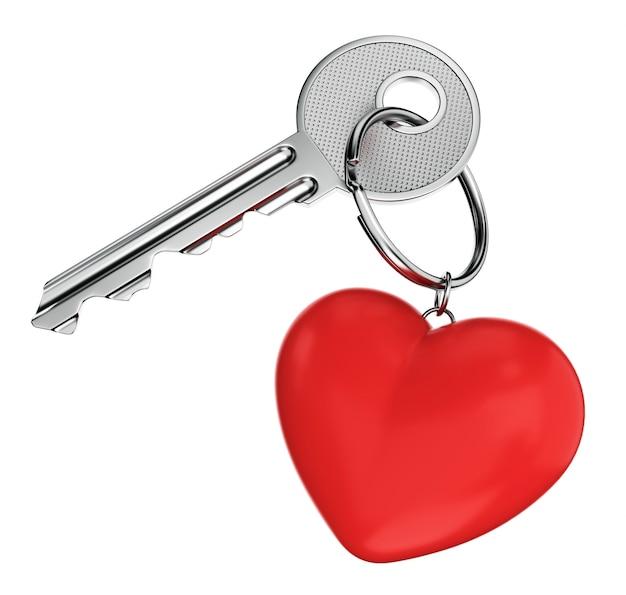 Llave de la puerta y llavero en forma de corazón